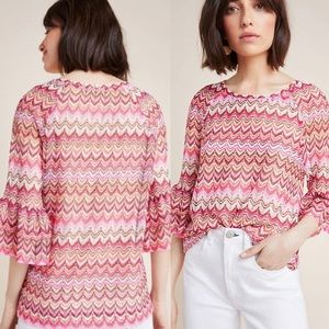 NWT $120 Anthropologie Pink Lorelle Blouse M